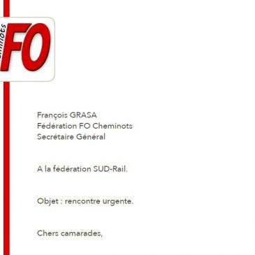 Courrier à SUD-Rail, proposition d'interfédérale