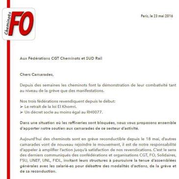 Se rencontrer pour Unir et Amplifier ! Courrier FO Cheminots adressé aux fédérations CGT et SUD Rail.