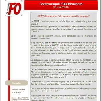 """Communiqué de la fédération FO des cheminots du 30 mai 2016: """"Un pétard mouillé de plus!"""""""