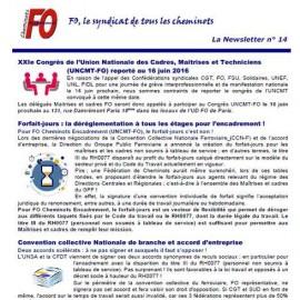 Newsletter n°14 – FO Cheminots Encadrement