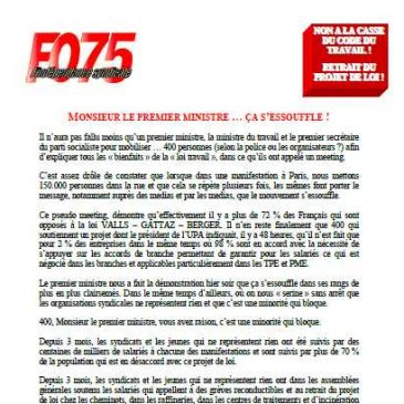 UDFO75: MONSIEUR LE PREMIER MINISTRE … ÇA S'ESSOUFFLE !