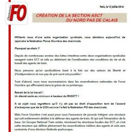 Lettre ouverte de militants et élus ASCT de la région Nord Pas de Calais qui ont fait le choix de rejoindre la fédération FO Cheminots pour un syndicalisme libre et indépendant !
