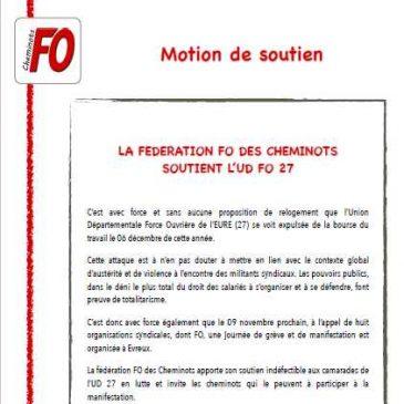 LA FEDERATION FO DES CHEMINOTS SOUTIENT L'UD FO 27