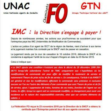 IMC (Indemnités de Modification de Commandes) : la Direction s'engage à payer !