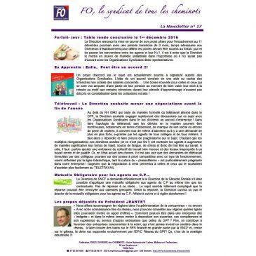 La Newsletter n°17 des maitrises et cadres FO: décembre 2016