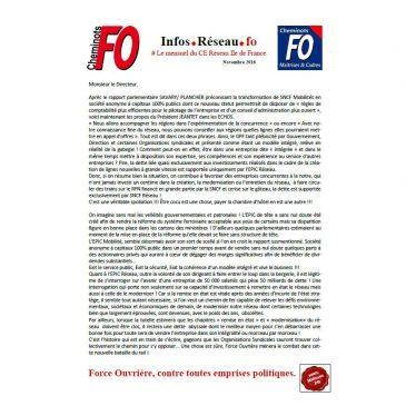 Le mensuel FO du CE Réseau Ile de France Novembre 2016