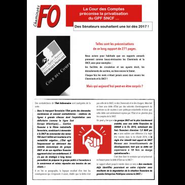 La Cour des Comptes préconise la privatisation du GPF SNCF … Des Sénateurs souhaitent une loi dès 2017 !